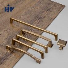 Brass Furniture Handle Knobs Modern Drawer Pulls Gold Kitchen Cabinet Handle Wardrobe Door Handles Zine Alloy Furniture Handles