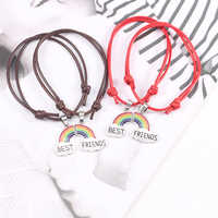 Rainbow Best Friends Bracelets For Women Girl Retro Leather Rope Adjustable Size Bangles Bff Forever LGBT Jewelry Gift Pulseras