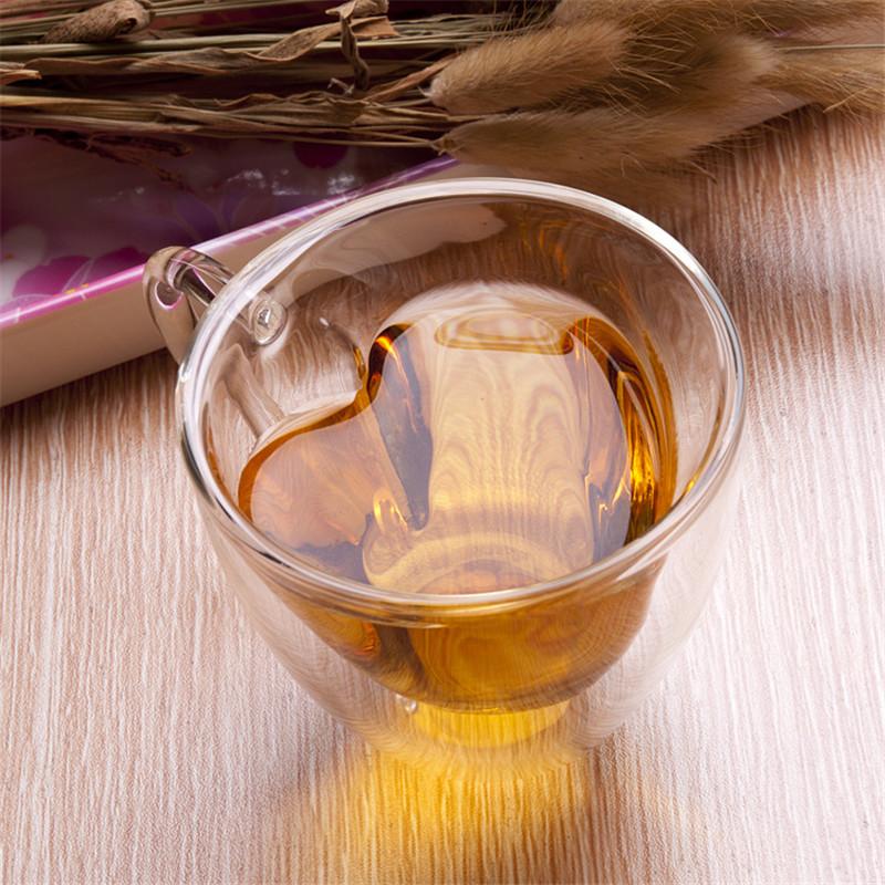 Heart Love Shaped Double Wall Glass Cup  Resistant Kungfu Tea Cup Milk Lemon Juice Cup Drinkware Lover Coffee Cups Mug Gift4