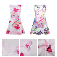 Grils Cartoon Summer Leisure Dress Butterfly Unicorn Print Baby Sleeveless Party Princess Birthday Dresses robe kid clothes(China)