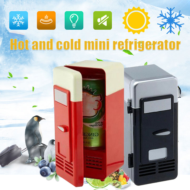 Freezer Mini Refrigerator Black Red 19.4* 9*9CM Plastic Beverage Cooler and Warmer Durable Portable Small Fridge Rechargeable