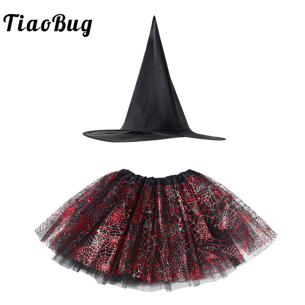 TiaoBug Kids Girls Halloween Carnival Anime Cosplay Party Set Child Witch Costume Spider Web Printed Tutu Skirt with Pointed Hat