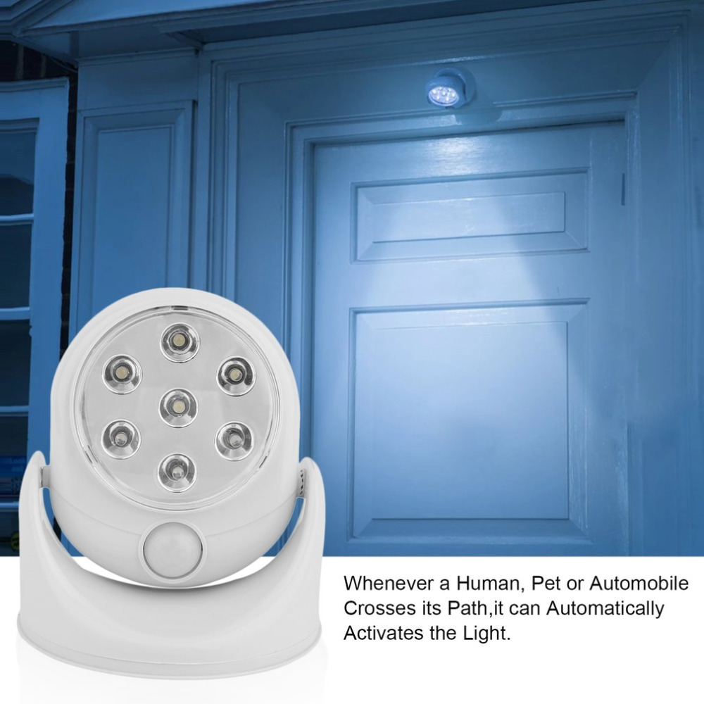 6V 7 LEDs Cordless Motion Activated Sensor Light Lamp 360 Degree Rotation Wall Lamps White Porch Lights Indoor Outdoor Lighting