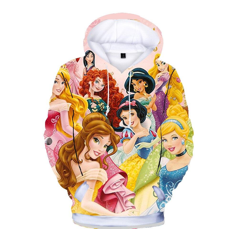 Bell Sleeping Beauty Classic Princess SpiderMan 3D Print Sweater Children Hoodies Jacket Casual Cotton Coat Girls Boys Clothing