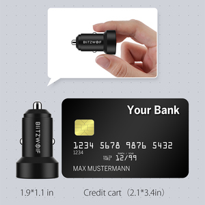 Image 4 - BlitzWolf BW SD6 דיגיטלי תצוגת 24W QC3.0 כפולה USB Mini מטען לרכב עבור iPhone 11 פרו XS עבור סמסונג Xiaomi mi 8 Pocophone F1