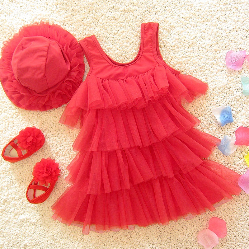 Medium And Small Children Korean-style Cute Sweet Skirt Split Type Baby Girls Hot Springs Princess Catwalks Swimsuit With Hat