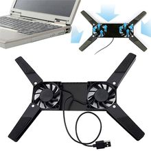 цена на Folding USB Dual Fan Cooler Rotatable Cooling Pad Stand For PC Computer Laptop Notebook Macbook E65A