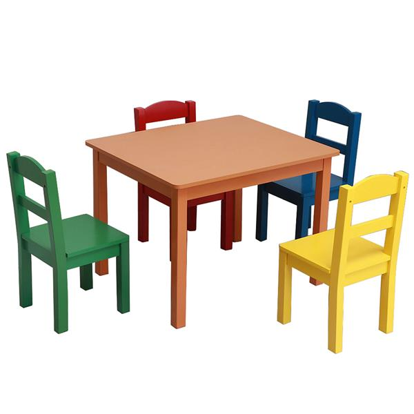 Kids Wood Table & 4 Chairs Set Multi-color Chairs Sets Solid Wood Kids Furniture Sets Kids Chairs And Study Table Sets