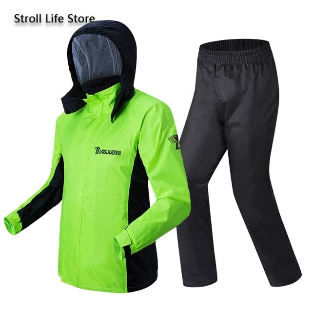 Green Motorcycle Rain Coat Pants Set Waterproof Raincoat Ultra-Thin Men's Rain Poncho Adult Mens Sports Suits Impermeable Gift 5