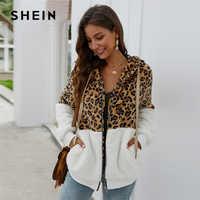 SHEIN Multicolor Kontrast Leopard Kordelzug Mit Kapuze Teddy Jacke Frauen Winter Lange Hülse Tasche Casual Outwear Jacken