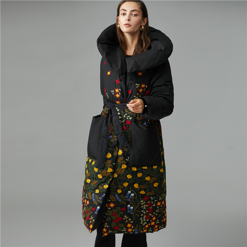 Winter Flowers Embroidery Thicker Warm Duck Down Coats Female Oversize Parkas Over The Knee Longer Down Jackets Warm Coat