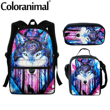 Fashion Schoolbag Backpack for Children Art Blue Purple Wolf Printed Teenager Girls Boys