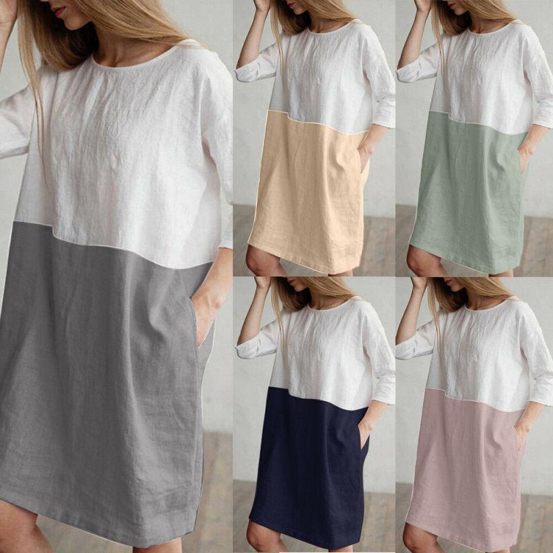 Women Cotton Linen Mini Dress 3/4 Sleeves Pockets Patchwork Tunic Loose
