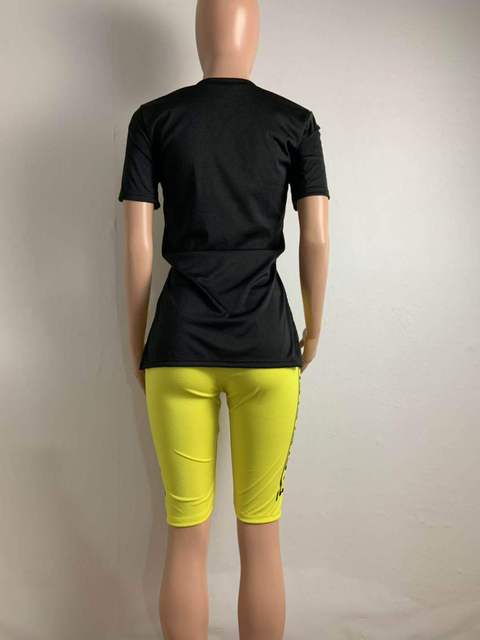 Shorts Sets O Neck Short Sleeve T Shirt Shorts Tracksuit Biker 2 Piece Sets Womens Outfits Plus Size Sets Letter Print Sportwear 5