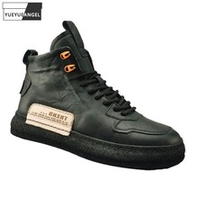 New 2021 Autumn Winter Boots Fashion Mens Casual High Top Shoes Lace Up Platform Genuine Leather Ankle Boots Mens Active Shoes