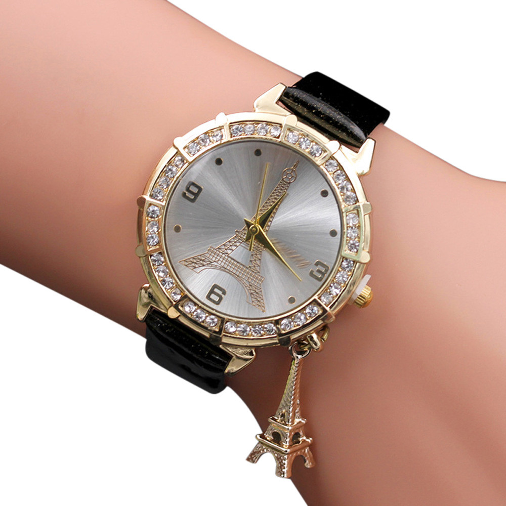 Women Geneva Quartz Watch The Eiffel Tower Pendant Wristwatch Montres Femmes Relógio Feminino Horloges Vrouwen שעוני נשים