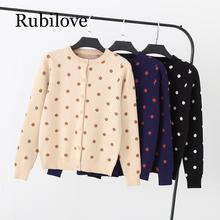 Rubilove Thick Polk dot Women cardigan Spring Autumn Knitted Sweater Coat Single Breasted Outwear Female cardigans