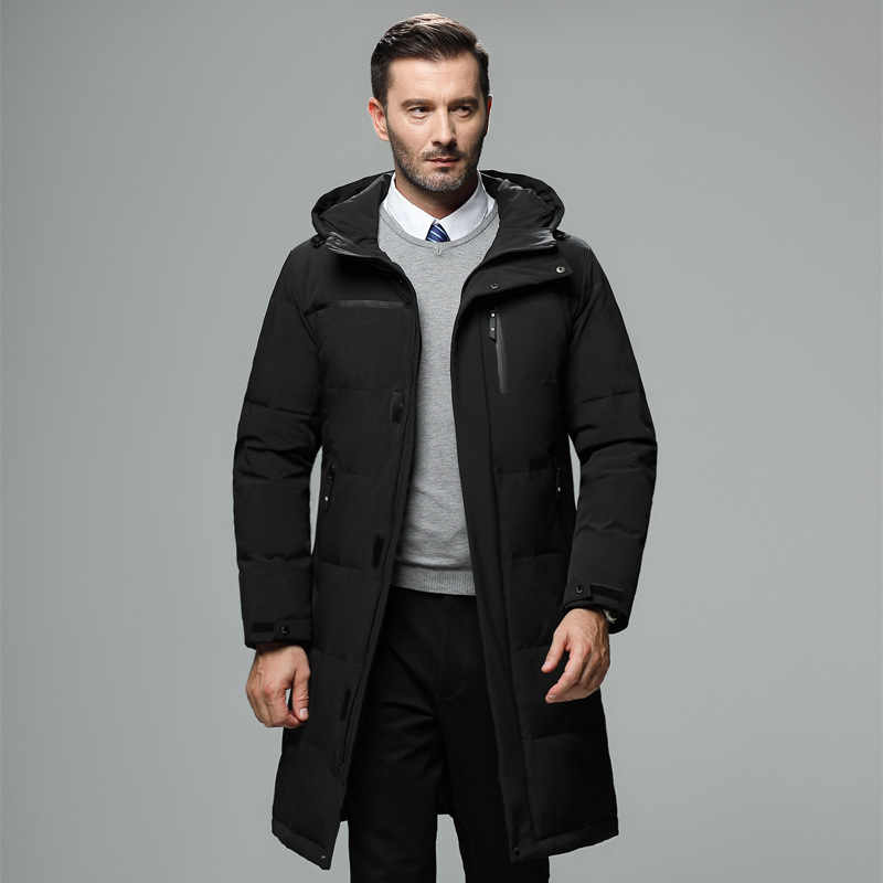 Alta qualidade jaqueta de inverno homens negócios inteligentes casual com capuz longo para baixo jaqueta masculina plus size grosso quente casacos de inverno roupas