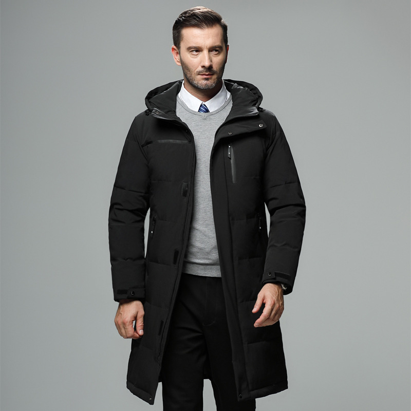 High Quality Winter Jacket Men Smart Business Casual Hooded Long Down Jacket Male Plus Size Thick Warm Winter Coats Clothes