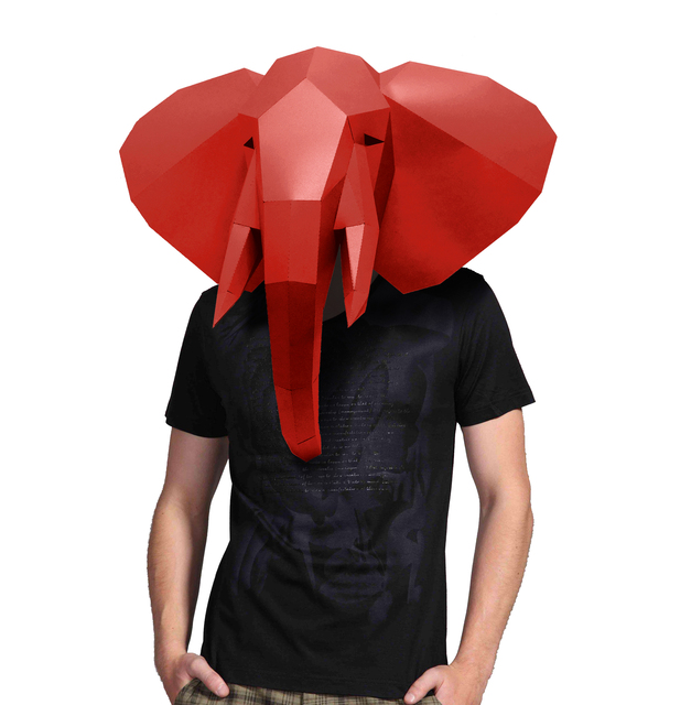 Paper Mask 3d Animal Elephant Costume Cosplay DIY Paper Craft Model Mask Christmas Halloween Prom Party Gift 1