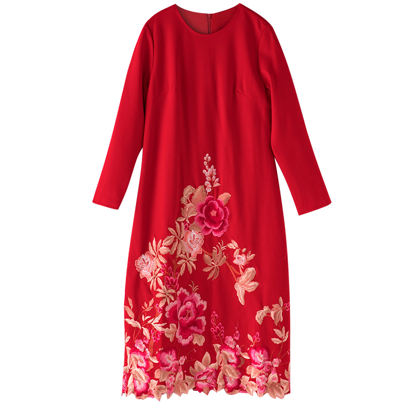 Vestido de algodón otoño estilo nacional bordado mariposa flor cuello redondo Retro suelto vestido de mujer de talla grande M 4XL - 3