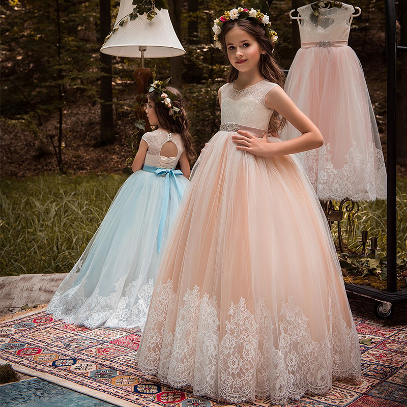 New Arrival Girls O-neck Beading Ball Gowns Chapel Train Lace Appliques Flower Girls Princess Elegant Wedding Pageant Dresses