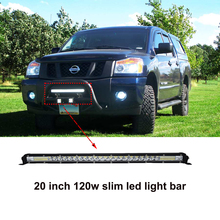 ECAHAYAKU 20 inch 120W slim combo LED work Light Bar for single row Offroad Car 4WD Truck Tractor Boat Trailer 4x4 SUV ATV 12V 12 inch 120w car led worklight bar 24x 5d cree chips combo offroad light driving lamp for truck suv 4x4 4wd atv