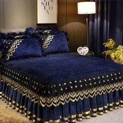 Capa de cama de renda acolchoada estilo europeu 1/3 pçs colchas de veludo de cristal quente colchão capa rodapé anti-skid sólido