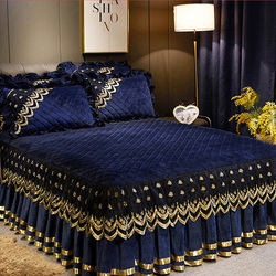 quilted lace bed cover European style 1/3pcs crystal velvet bedspreads warm mattress cover skirted anti-skid bed cover solid