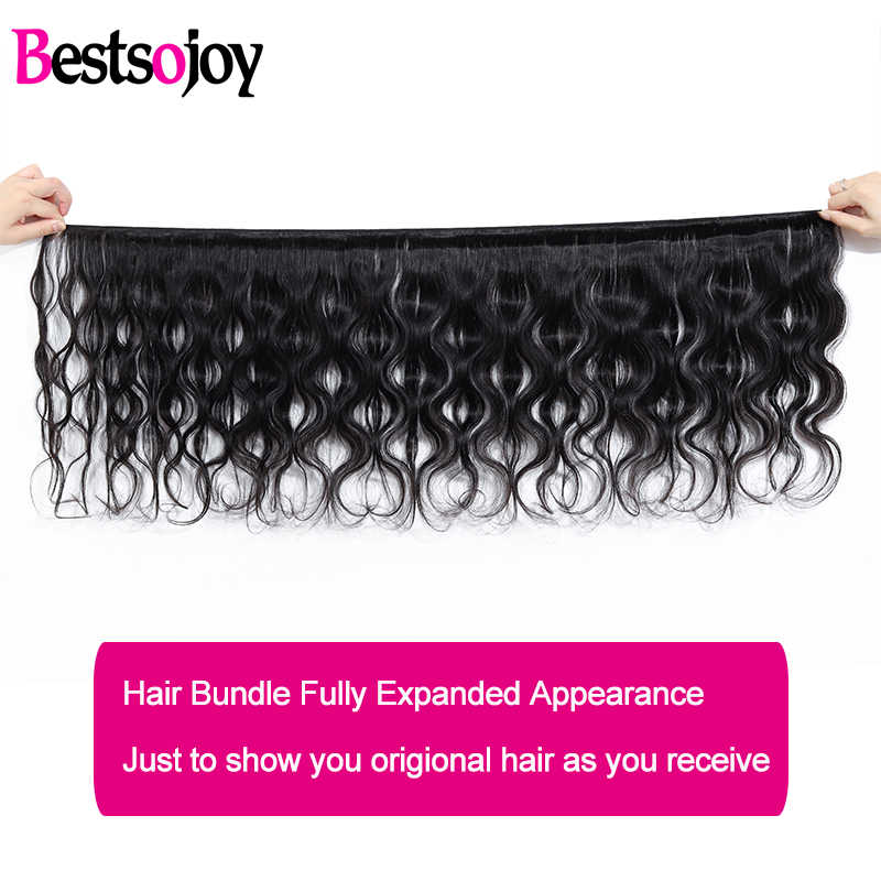 Bestsojoy Body Wave 3 Bundles With Closure M Brazilian Remy 100% Human Hair Weave Bundles With Closure Middle/ Free/Three Part