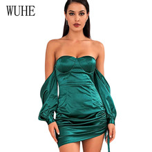 WUHE Off Shoulder Strapless Sexy Women Dress Elegant Hollow Out Long Sleeve Backless Casual Autumn Party Lady Club Clothes