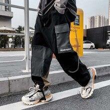 цена на UNCLEDONJM Colour Block Cargo Pants Men Streetwear Hip hop Loose fit Trousers Casual Pants Harajuku Man Fashion V2-1998