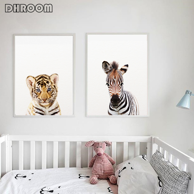 H0edc5a57fba845a598a5846735944ec7K Safari Baby Animals Canvas Poster Nursery Lion Tiger Wall Art Print Modern Animal Painting Nordic Kid Bedroom Decoration Picture