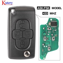 Kutery ASK/FSK 433Mhz 4 кнопки Flip Floding Remote Key Fob управление для Peugeot 1007 для Citroen C8 VA2/HU82 Blade CE0523