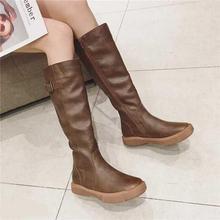 Swyivy Đầu Gối Cao Giày Nữ Mùa Đông 2019 Nền Tảng Giày Khóa Người Phụ Nữ Giày Đen/Nâu Cao Boot Khóa Kéo Plus size 42