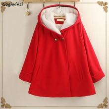 Красное пальто зимние женские двубортные однотонные простые теплые Kawaii повседневные женские пальто корейская модная одежда женские универсальные шерстяные
