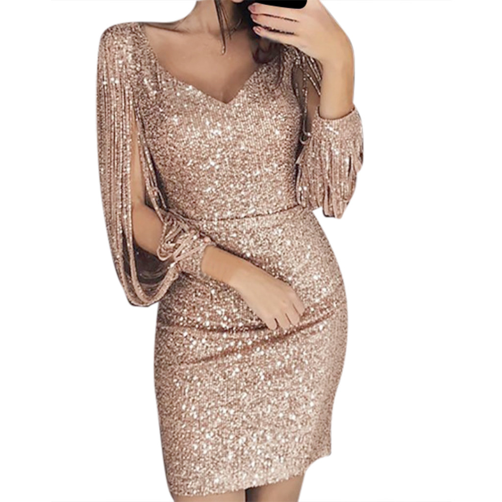 Dress Women Party Dresses Sexy Solid Sequined Stitching Shining Club Sheath Long Sleeved Mini Dress Decoration Summer 2020