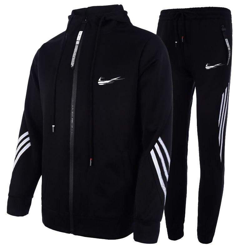 Novo 2 peças conjuntos de treino impressão dos homens com capuz moletom + calças pulôver hoodie sportwear terno casual roupas esportivas M-3XL