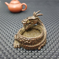 Chinese Bronze Sculpture Pure Brass Carving Dragon Statue Ashtray Zodiac Animal Censer Home Decoration Lucky Gift Statue|Statues & Sculptures| |  -
