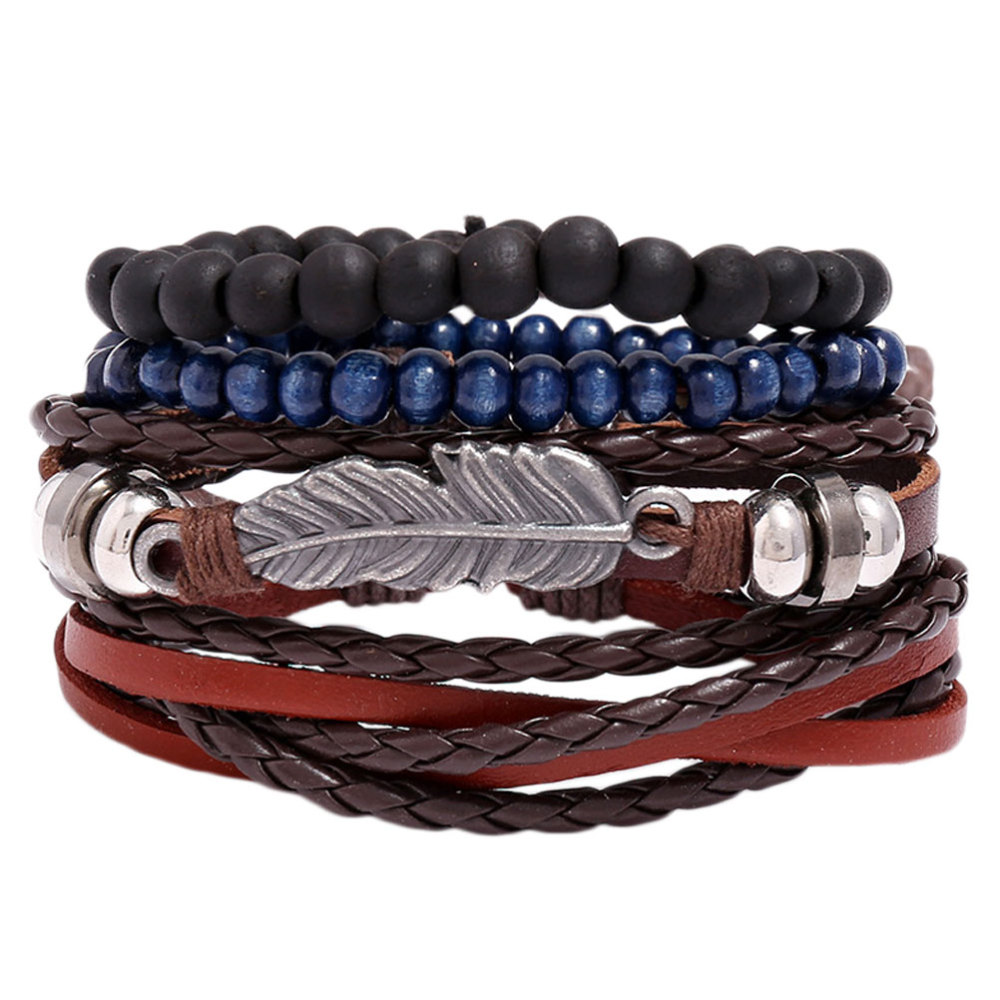 1 Set of Woven Leather Wrist Chain Adjustable Bracelets Fashion Bangle Simple Jewelry for Woman Girl Lady