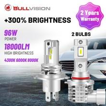 BULLVISION H4 LED 헤드 라이트 낮은 빔 높은 빔 H7 H11 H8 H9 9005 9006 HB3 HB4 4300K 6000K 8000K 높은 전원 플러그 앤 플레이 자동차 전구