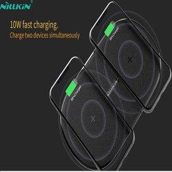 NILLKIN 10 Вт двойное Беспроводное зарядное устройство для iPhone X XS Max/XS/8/8 Plus Qi Быстрое беспроводное зарядное устройство для samsung Galaxy S8/Note 8/S9