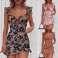 Недавно для женщин с v-образным вырезом с рюшами платье Для летних вечеринок платья в обтяжку без рукавов CLA88