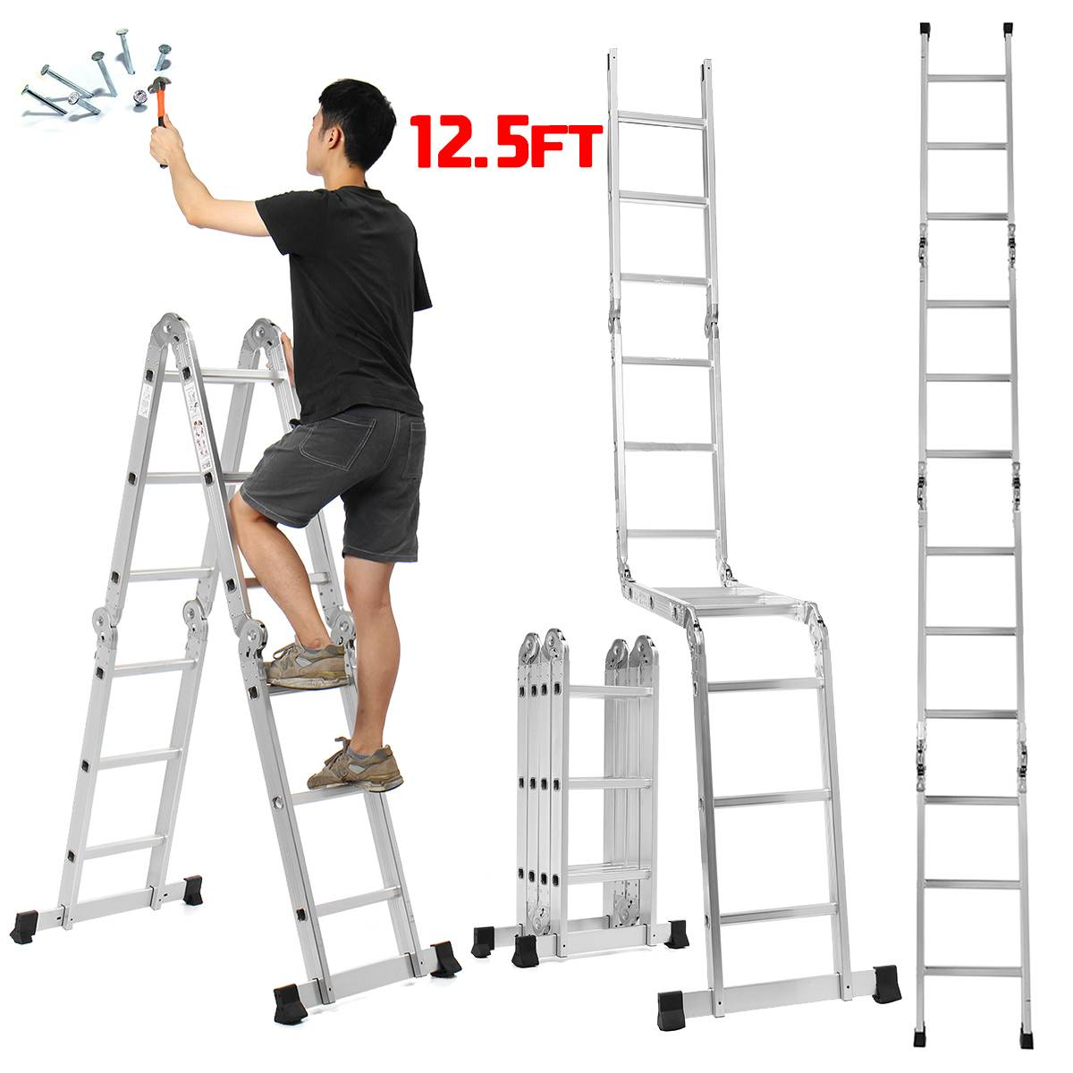 Telescopic Ladder Folding Ladder 3.6m 12.5Ft Aluminum Extension Tall Ladder Multifunctional Single Extension Ladder Tool