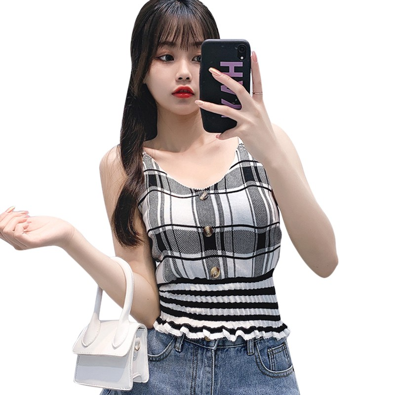 Women Plaid Knit Top Buttons Cropped Club Sexy Camisole Knitted Top Sleeveless Ruffles Knitted Sweet Chic Tee Shirts Crop Top 6