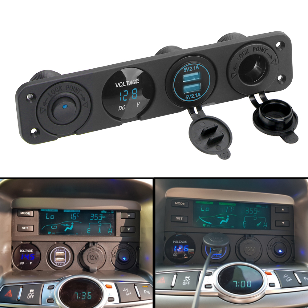12V Power 4 In 1 Switch Panel Waterproof Digital Voltmeter Car Dual Usb Charger Socket Cigarette Lighter With Rocker Switch|Car Switches & Relays|   - AliExpress