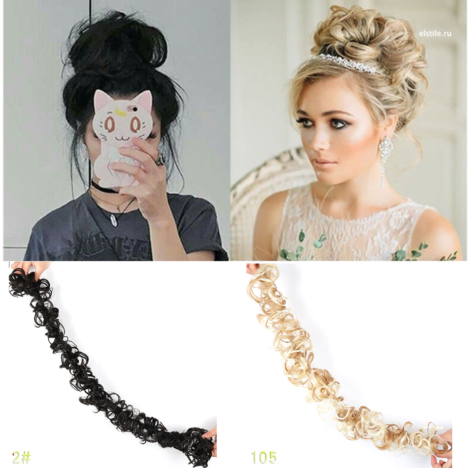 MUMUPI  Clip In Hair Bun Sexy Hair Buns Hairpiece Curly Wavy Messy Hair Chignon Natural Bun Hairpieces Headwear