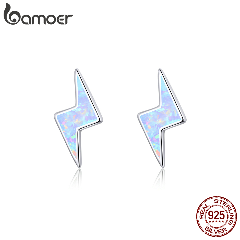 Bamoer Flash Lightning Stud Earrings For Women Sterling Silver 925 Fashion Opal Jewelry Pendientes Brincos SCE860