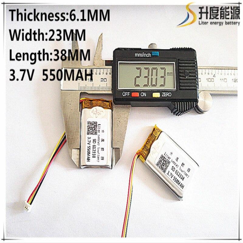 Frete grátis bateria de polímero 550 mah 3.7 v 612338 casa inteligente mp3 alto falantes li-ion bateria para dvr, gps, mp3, mp4, telefone celular, alto-falante