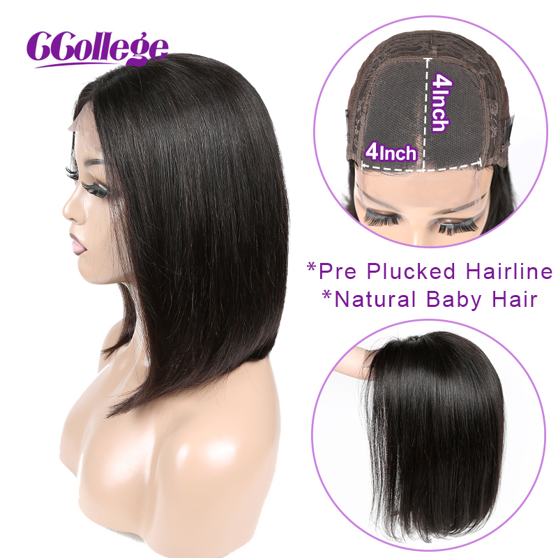 4x4 Lace Closure Wig Peruvian Straight Bob Wig Glueless Lace Closure Wig Human Hair Wigs For Black Women Non Remy Hair Wig-in Lace Front Wigs from Hair Extensions & Wigs
